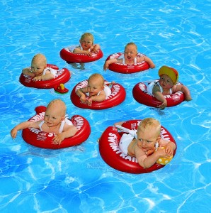 SWIMTRAINER Classic cervene koleso plavanie s babatkami